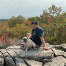 Bovine veterinarian sitting next to a pug